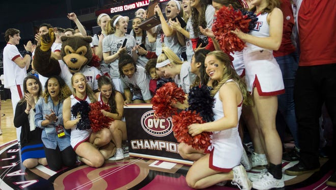 Belmont's team, cheerleaders and fans pose for a picture at center court after defeating UT Martin in the Ohio Valley Conference Tournament Championship on Saturday, March 3, 2018. Belmont defeated University of Tennessee at Martin 63-56 in overtime.