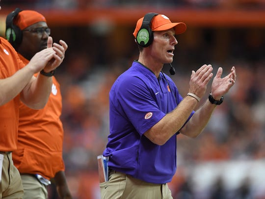 Clemson defensive coordinator Brent Venables coaches against Syracuse during the 2nd quarter on Friday, Oct. 13, 2017 at the Carrier Dome in Syracuse, N.Y.