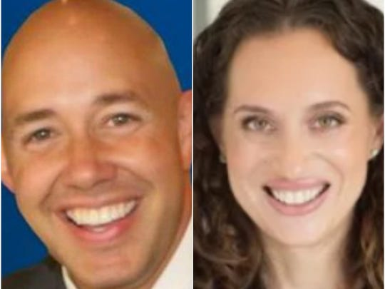 U.S. Rep Brian Mast (left) and Democratic challenger Lauren Baer
