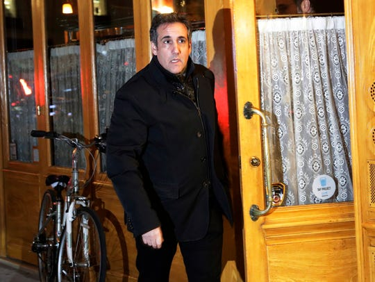 Michael Cohen,  President Donald Trump's personal attorney, leaves a restaurant, Tuesday, April 10, 2018, in New York.