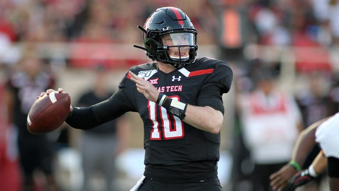 Sep 7, 2019; Lubbock, TX, USA; Texas Tech Red Raiders quarterback Alan Bowman (10) throws a pass against the Texas El Paso Miners in the first half at Jones AT&T Stadium. Mandatory Credit: Michael C. Johnson-USA TODAY Sports
