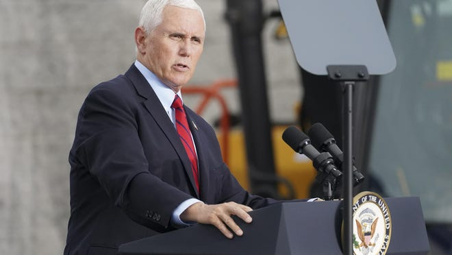 """Vice President Mike Pence speaks at a """"wokers for Trump"""" campaign event on the grounds of Kuharchik Construction, Inc., on Tuesday in Exeter, Pa. Pence was in the state a day after Democrat Joe Biden's was in Pittsburgh on Monday. President Donald Trump is to speak Thursday evening at Arnold Palmer Regional Airport in Latrobe, about 30 miles east of Pittsburgh, his campaign said. Pennsylvania, with its 20 electoral votes and politically divided electorate, is of the utmost importance to both campaigns in the Nov. 3 presidential election."""