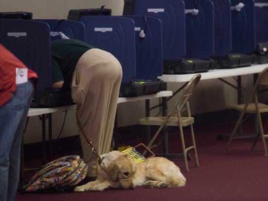 Vickie Welbaun votes as her service dog Perrie waits
