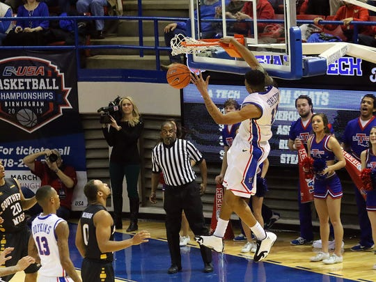 Louisiana Tech freshman Xavian Stapleton made SportsCenter with this one-handed dunk against Southern Miss.