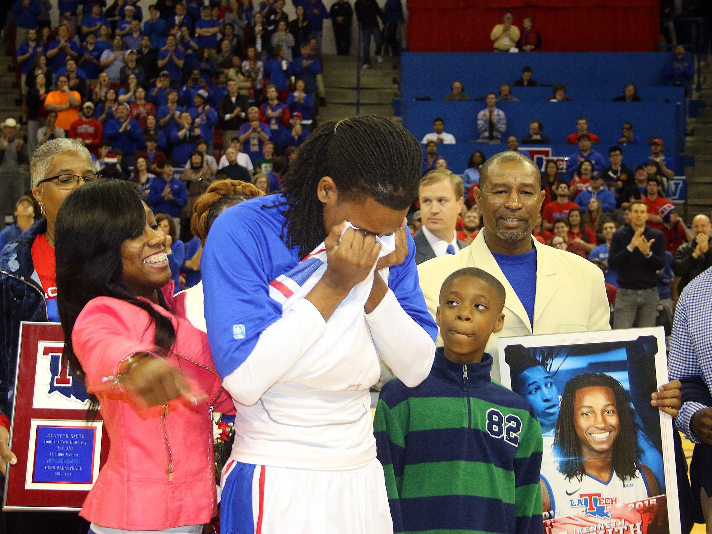 Louisiana Tech senior guard Speedy Smith gets emotional