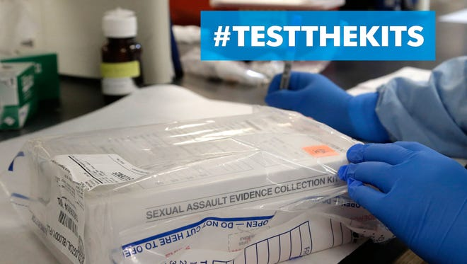 A sexual assault evidence kit is logged in the biology lab at the Houston Forensic Science Center in Texas on April 2.