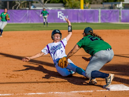 Aggressive base-running like this from sophomore Jessica Valerius is a big part of FSW's offense.
