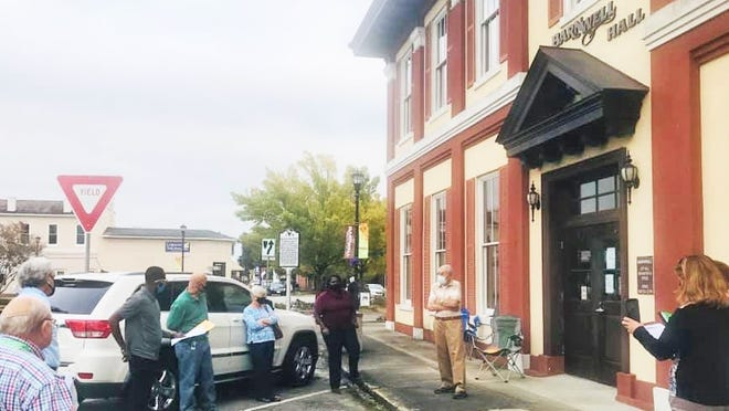 Due to city hall being closed after a COVID exposure, Barnwell City Council met outside on Oct. 26 to approve an emergency ordinance requiring face coverings in retail establishments, restaurants and city-owned public buildings for 60 days.