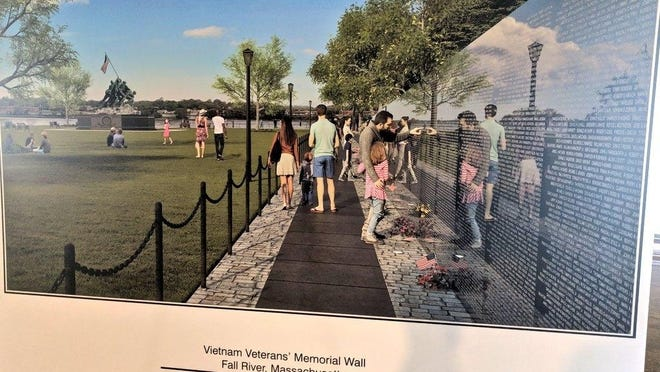 The first panel of a new replica Vietnam Veterans Memorial Wall at Bicentennial Park in Fall River, a replica of which is seen here in this file photo, will be installed during a ceremony Thursday, Sept. 17.