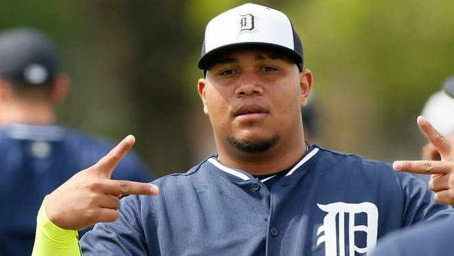 Detroit Tigers reliever Bruce Rondon warms up March 1, 2015 in Lakeland, Fla.