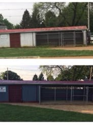 Exterior of the South River dugouts Nick Razzano refurbished