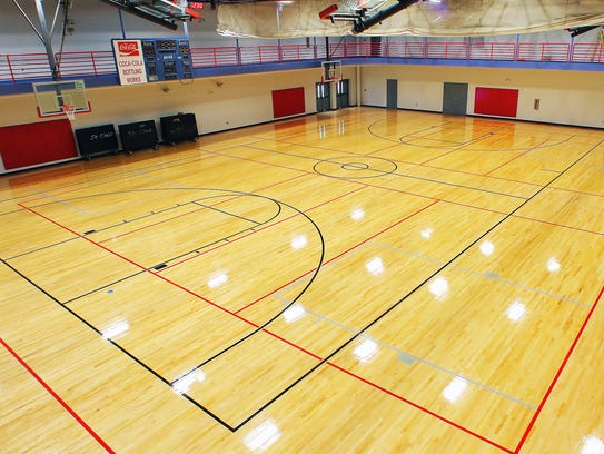 The gymnasium floor at SportsCom has been refinished.
