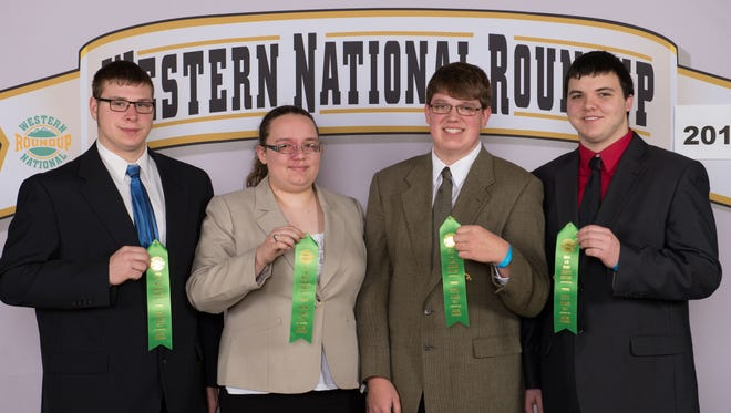 Meats Judging Team placed 7th overall, 5th in placings, 6th in giving reasons, and 8th in Retail ID. Team members, from left: Jesse Lynch of Reeseville; Natalie Siedschlag of Watertown; Samuel Nehls of Horicon; and Richard Condon of Watertown.