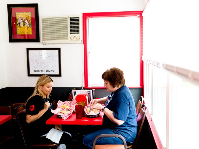 Patty Warner, right, owner of Patty Warner, LCSW, dines
