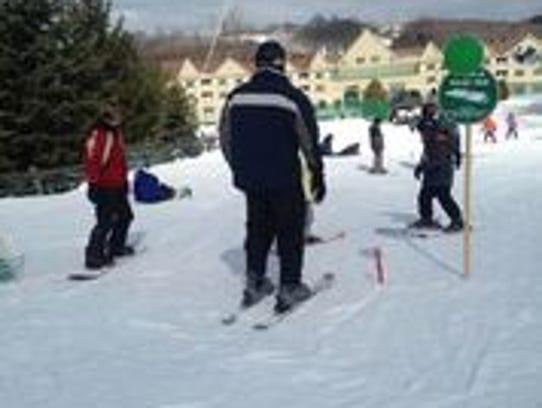 Skiers enjoy Jiminy Peak.