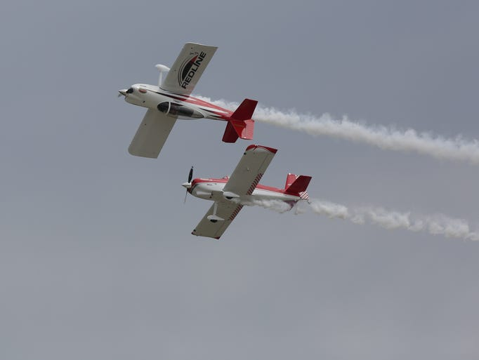 Team Redline performs for the Sunday airshow at the