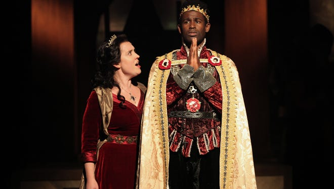 "Kelly Mengelkoch as Queen Margaret and Darnell Pierre Benjamin as Henry VI in Cincinnati Shakespeare Company's production of William Shakespeare's ""Henry VI: Wars of the Roses Part 1."" The show runs Jan. 22-Feb. 13 in CSC's theater, 719 Race St., Downtown."