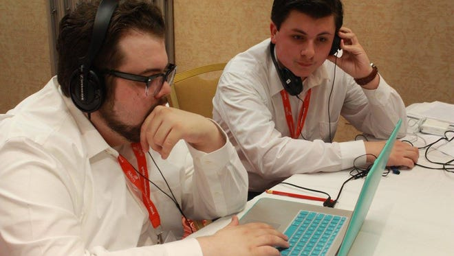 Robert Madley, left, and Michael Zuccaro, were gold medalists in the digital media technology category audio production during this weekend's SkillsUSA contest. They're among the six moving on to the national competition in June.