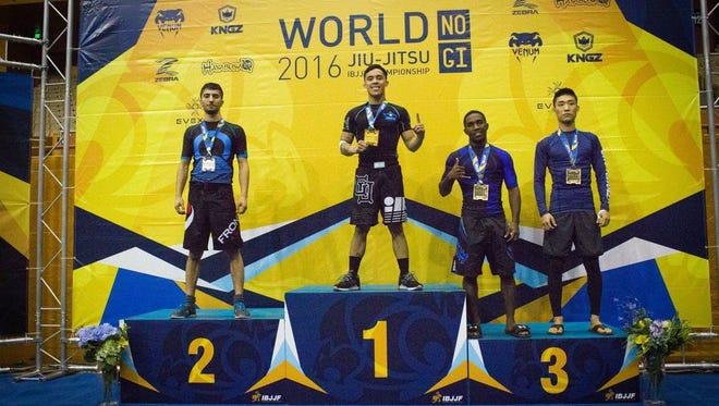 Vance Kamminga celebrates his first place win in the 2016 World Jiu-Jitsu No-Gi IBJJF Championship held in California on Nov. 5 and 6.