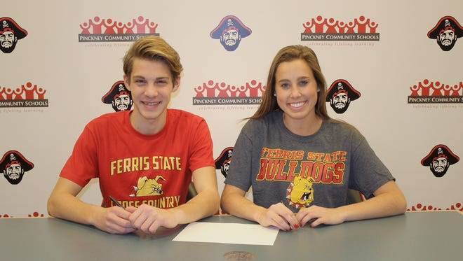 Pinckney's Aaron Jarema (left) and Catherine Stone (right) are heading to Ferris State.