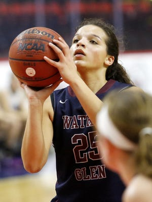 Mariah Gonzalez of Watkins Glen gets set to take a foul shot during the Senecas' victory over Moravia in the Section 4 Class C final Feb. 27 at the Floyd L. Maines Veterans Memorial Arena in Binghamton.
