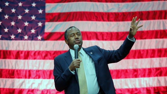 Ben Carson speaks during a campaign event in Lexington,