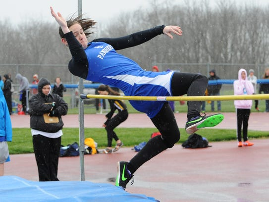 Ella Skeens competes in the high jump during the RL