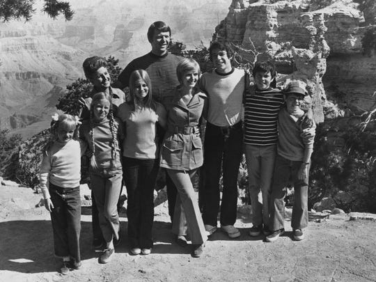 """The Brady Bunch"" clan visited the Grand Canyon  for three episodes in 1971. Susan Olsen (from left), Eve Plumb, Ann B. Davis, Maureen McCormick, Robert Reed, Florence Henderson,  Barry Williams, Christopher Knight and Mike Lookinland starred."