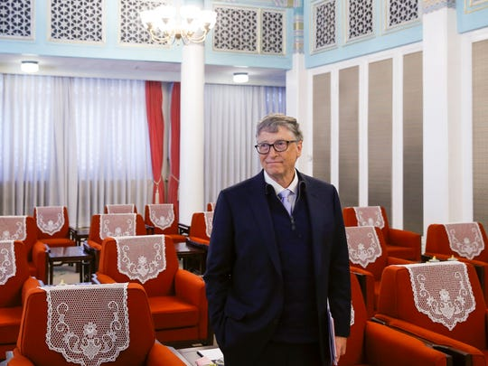 File photo taken in 2017 shows Microsoft co-founder and philanthropist Bill Gates during a meeting with China officials in Beijing.