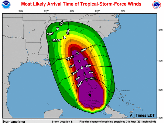 Hurricane Irma is expected to bring tropical-storm