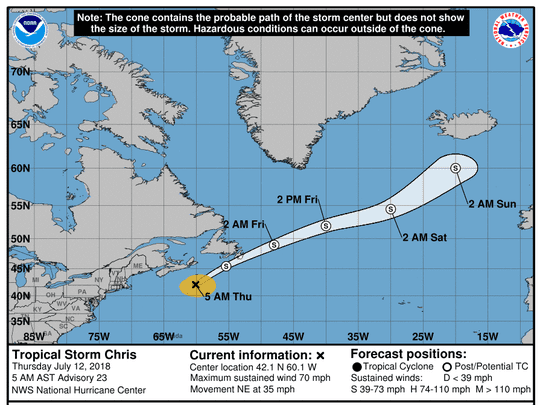 Tropical Storm Chris at 5 a.m. July 12, 2018.