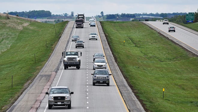Motorists in the northbound lanes of Interstate 29 near 248th Street Friday, May 13, 2016, between Dell Rapids and Baltic, S.D. A portion of Interstate 29 between the Renner, S.D., and Madison, S.D., exits is scheduled to receive a 24.9 million dollar upgrade in 2017.