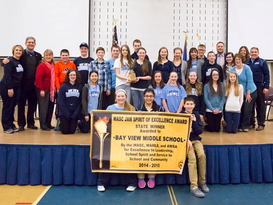 Students celebrate at Bay View Middle School.