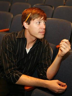 "Former Horace Greeley High School drama teacher Christopher Schraufnagel, seen here during rehearsals for ""Evita"" in 2009."