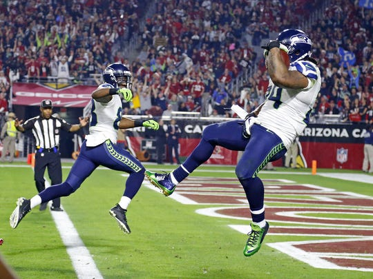 Marshawn Lynch scored a touchdown and gestured against