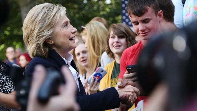 Presidential hopeful, Hillary Clinton shakes hands and poses for photos with people who came to her community forum on Wednesday, Oct. 7, 2015 on the Cornell College campus in Mount Vernon.