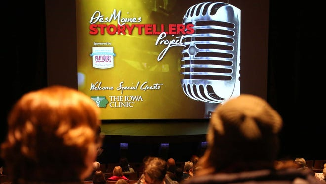The audience fills the theater before the Des Moines Storytellers Project: Love and Heartbreak event on Tuesday, Feb. 16, 2016, at the Des Moines Playhouse.