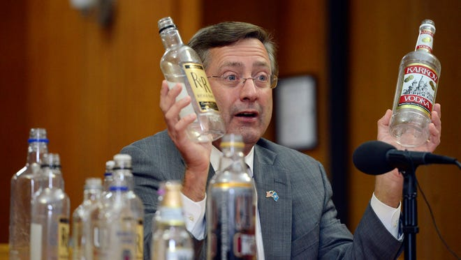Mayor Mike Huether speaks Monday at a press conference urging the city council to ban alcohol in Van Eps and Tower parks, Sept 8, 2014.
