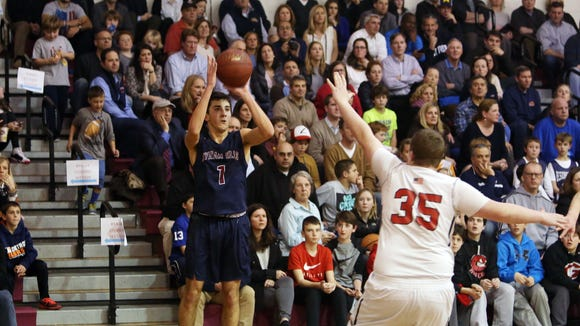 Byram Hills defeated Rye 75-61 in boys basketball action at Rye High School Jan. 20, 2017.