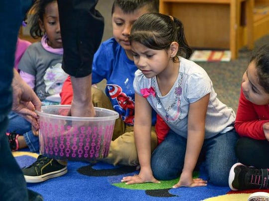 Welcome Elementary kindergartner Vilma Riz gets a closeup look at a pacman frog during a presentation by Chuck Alberding, the Wildlife Geek at the school in Greenville on Wednesday, December 14,  2016.