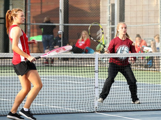 Bronte's Jayden Speary awaits at the net in girls doubles action against Borden County at the  Region II-1A Tennis Tournament Thursday at Bentwood Country Club.