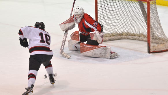 Matt Maselli (10) leads the Glen Rock hockey team in goals and points scored through games played on Tuesday, Jan. 23.