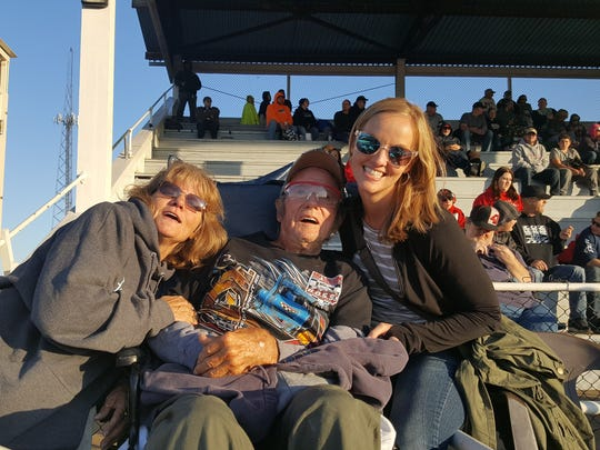 Gene Lentz, middle had his Make-A-Wish granted. His wish was to see a race at the Fremont Speedway. Lentz is with Julie Shull of Heartland Rehabilitation in Northwest Ohio and social worker Jessica Rogier.