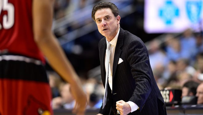 Louisville head coach Rick Pitino reacts during his team's game against UNC on Jan. 10.