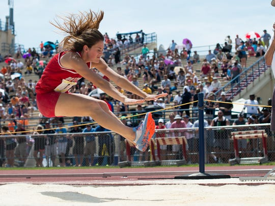 Annville-Cleona's Reagan Hess competes in the girls AA long jump during day one  of the PIAA state track and field championships  on Friday, May 27, 2016. She took home a silver medal by jumping an all time best 19' 1""