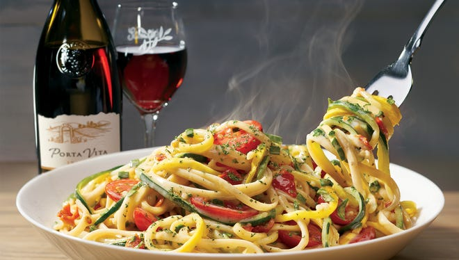 Spiralized Veggie Pasta is one of the healthy dishes on Olive Garden's new Tastes of the Mediterraneanmenu.