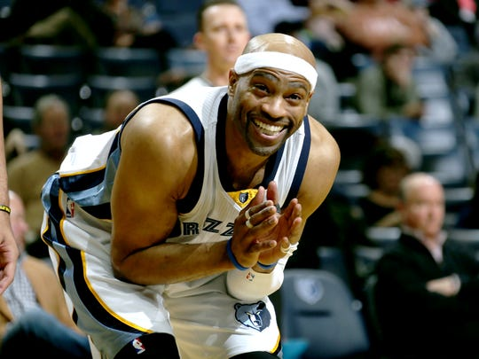 Memphis Grizzlies Vince Carter reacts during the game against the Utah Jazz.