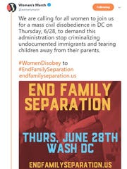 Women's March is calling for civil disobedience in Washington, D.C., on June 28th in response to the immigration crisis.
