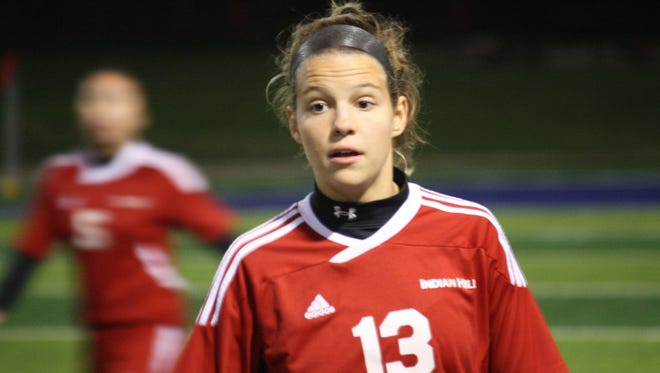 Indian Hill senior Piper Fries stays focused in a Division II state semifinal against Granville on Nov. 10 at Xenia.