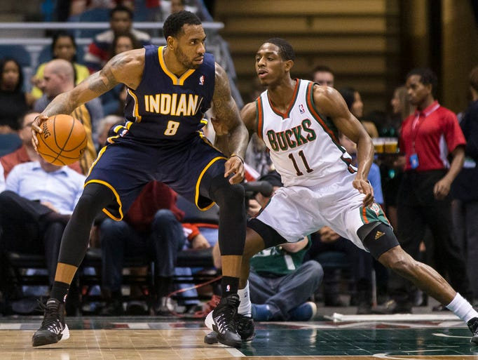 Apr 9, 2014; Milwaukee, WI, USA; Indiana Pacers guard